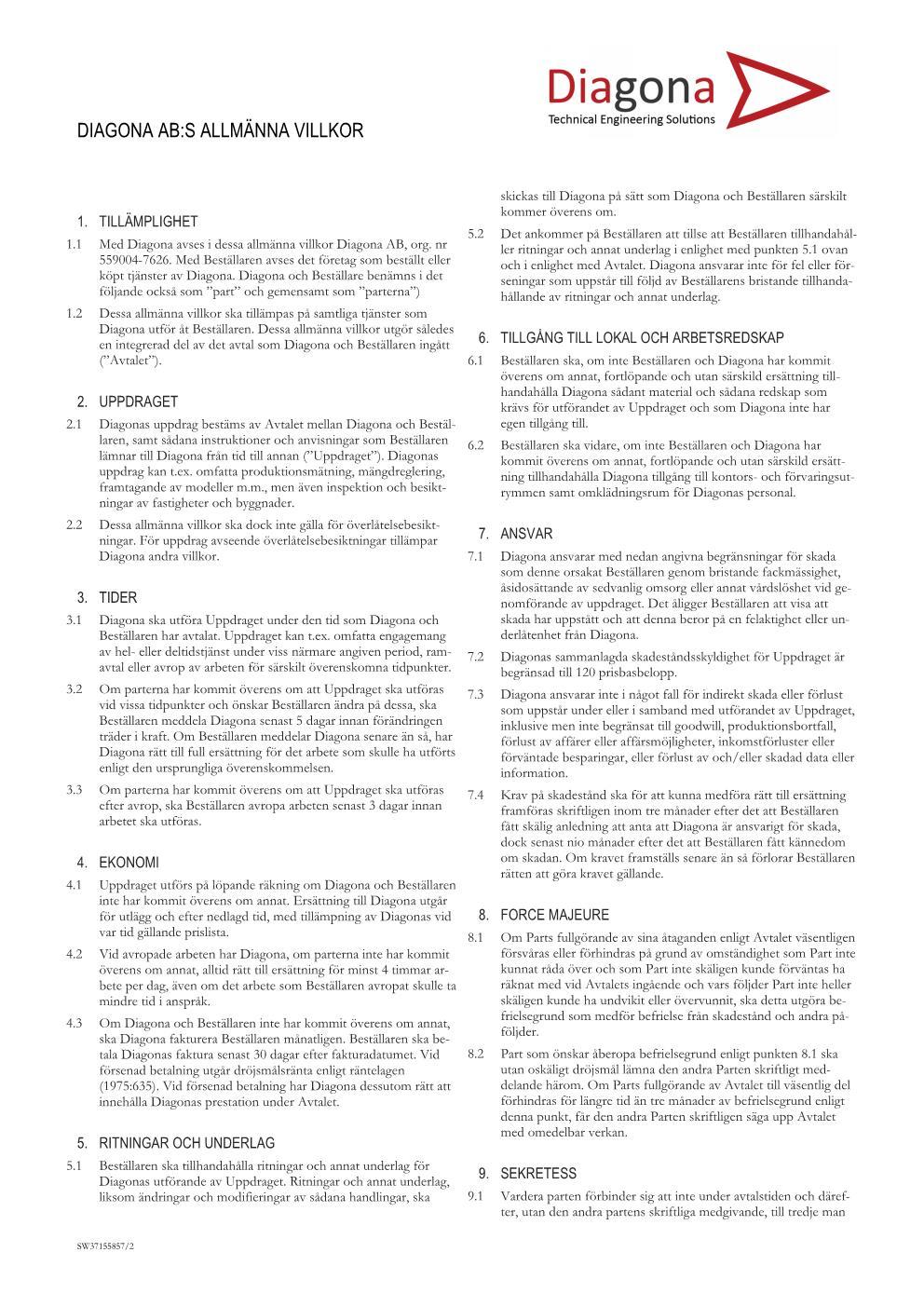 Allmänna villkor sida 1